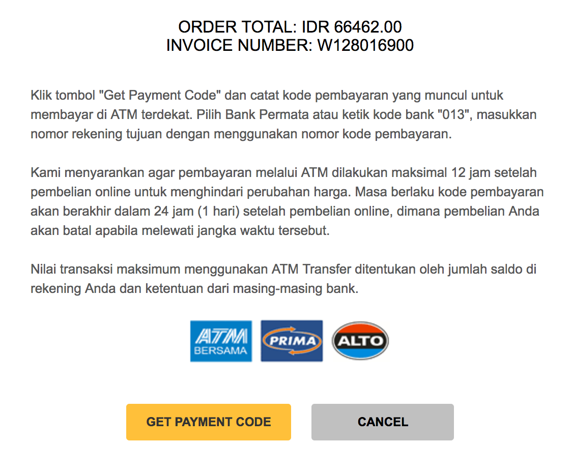 ATM Transfer Indonesia confirmation