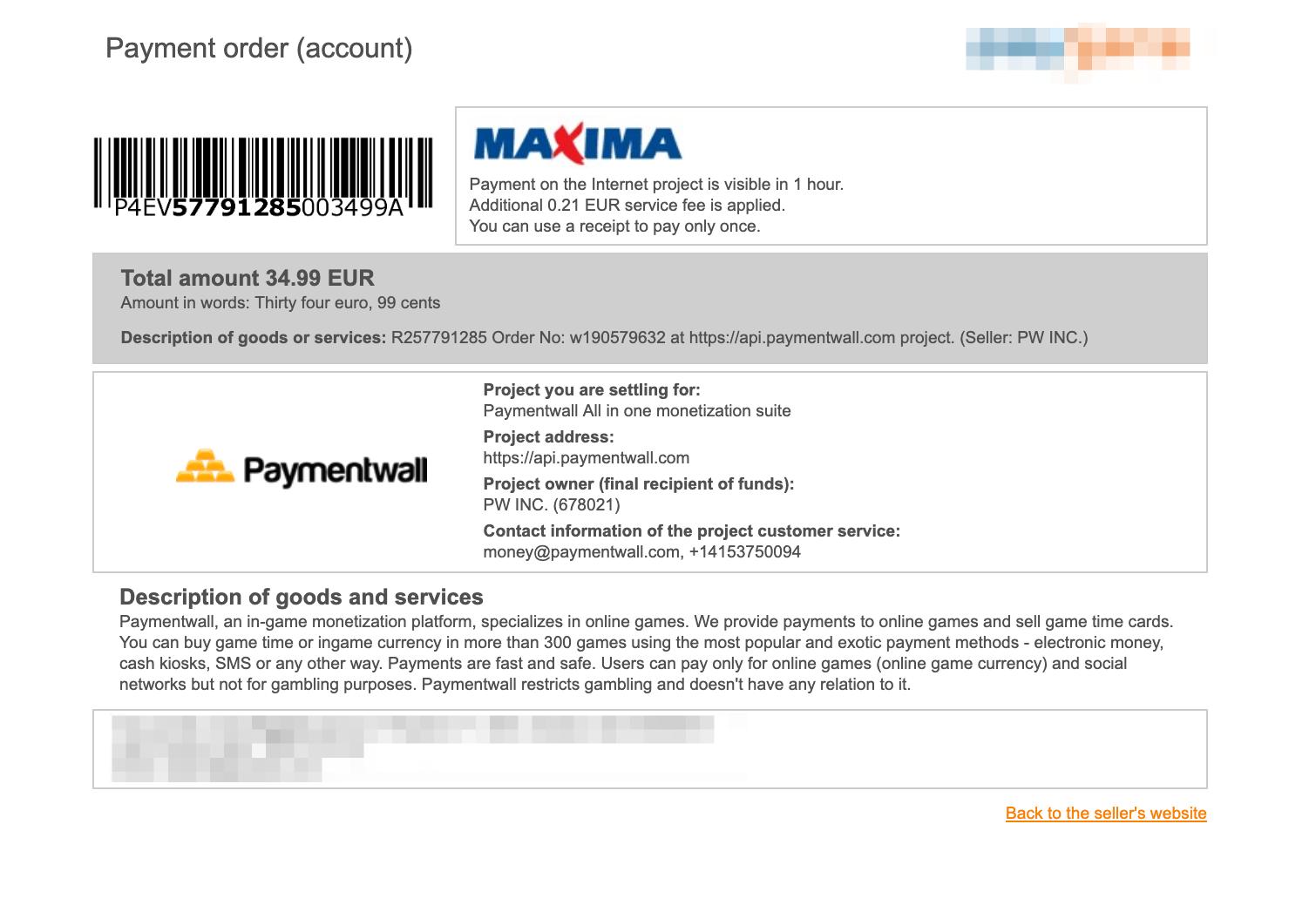 Payment Method - Maxima