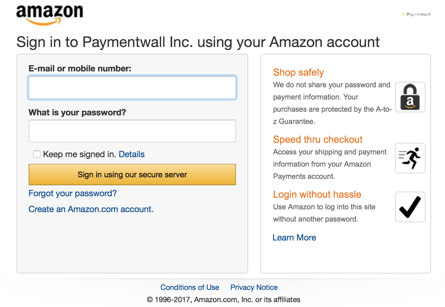 amazon payment account kickstarter